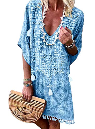 Happy Sailed Damen Kurzarm V-Ausschnitt Retro Bikini Cover Up Strandkleid Bikinikleid Beachwear S-L, Blau, Medium (EU40-EU42)