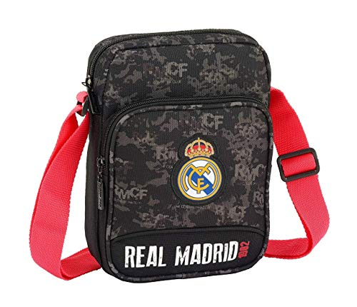 REAL MADRID Black Oficial Bandolera Bolsillo Exterior