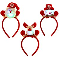 3pcs unisex Linda Navidad Santa Claus diadema pelo bandas con luz LED decoración de Navidad para hombres mujeres niños
