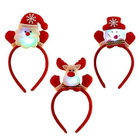 3PCS Noël Led Bandeau,Vococal® Bandeau Noël Déguisement Unisexe Santa Claus Bandeau Bandes de Cheveux avec Lumière LED Décoration de Noël pour Hommes Femmes Enfants