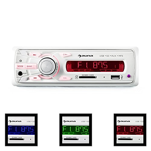auna MD-120.2WH • Autoradio • Car-Radio • Car-HiFi-Set • USB-Slot • SD/MMC-Speicherkarten-Slot • UKW-Radiotuner • MP3 • 3,5mm-Klinke-AUX-Eingang • 2 x Stereo-Cinch-Line-Ausgang für 2- oder 4-Kanal Endstufen • Leistung 4 x 75 W max. • Fernbedienung • weiß