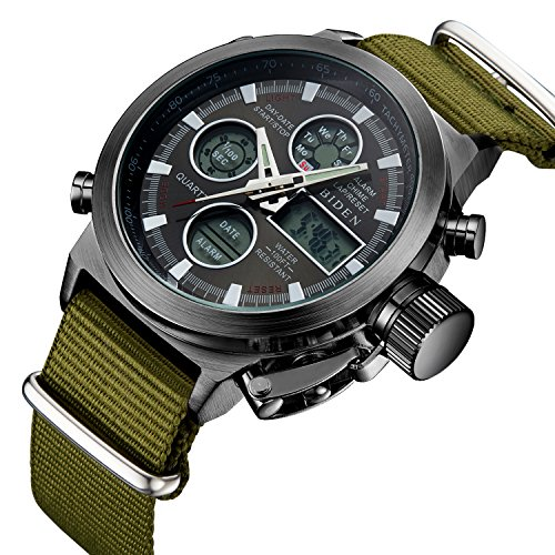 Herren Big Face Military Analog Digital Sport Uhren Herren wasserdicht Alarm LED Digital Uhren mit Stoppuhr Herren-Multifunktions Armbanduhr mit schwarzem (Herr Zeit Kostüm Für Der Verkauf)