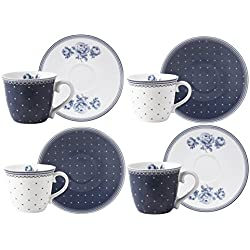 """Katie Alice """"Vintage Indigo Taza de café y platillo, Azul, 4Piezas"""