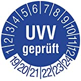 Labelident Prüfplaketten - UVV geprüft, Mehrjahresprüfplakette, Zeitraum 2019-2024, Ø 25 mm, 180 Stück, Vinylfolie blau, Aufdruck weiß