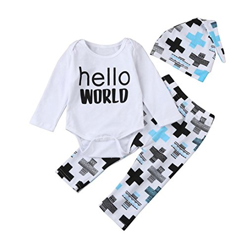 Kinderschreibendruck Jeans + Hose + Hut dreiteilig,HKFV Outfits Kleider Printing Spielanzug Tops + Pants + Hat Set (100)