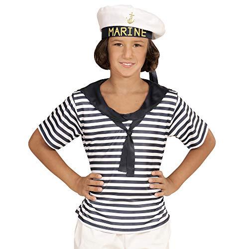 WIDMANN 03114 - Kinderkostüm Marine Set, Shirt und Hut, weiß, Größe ()