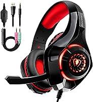 Auriculares Gaming Premium Stereo con Microfono para PS4 PC Xbox One (Rojo)
