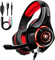 Auriculares Gaming Premium Stereo con Microfono para PS4 PC Xbox One, Cascos Gaming con Bass Surround Cancelacion Ruido,...