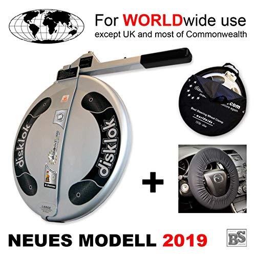 Disklok L 440 Silber Bundle mit Lenkrad-Schutzbezug und Aufbewahrungstasche - Lenkradkralle und Airbagschutz für Lenkräder mit 41,1-43,5 cm ø (für Linkslenker EU ohne UK)