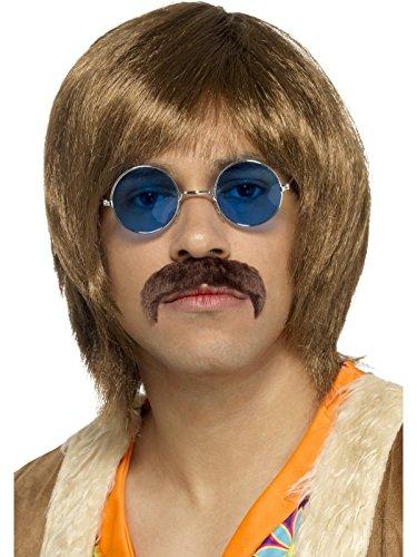 Smiffys, Herren 60er Jahre Hippie Sänger Set, Perücke, Schnurrbart und Brille, One Size, Braun, 45169 (Schnurrbart Perücke)