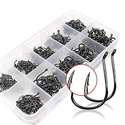 VIPMOON Octopus High Carbon Steel Worm Senko Bait Jig Fish Hooks with Plastic Box (Set of 500pcs/10 Sizes or Set of 50pcs/5 Sizes) by VIPMOON