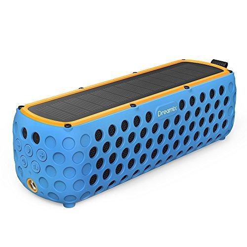 Outdoor bluetooth lautsprecher, Dreamix Solar Tragbare Drahtloser Musik Box Stereo 30 Stunden Spielzeit IP65 mit eingebautem Mikrofon Mobiler SoundBox für Bergsteigen Wandern Radfahren Camping (Blau)