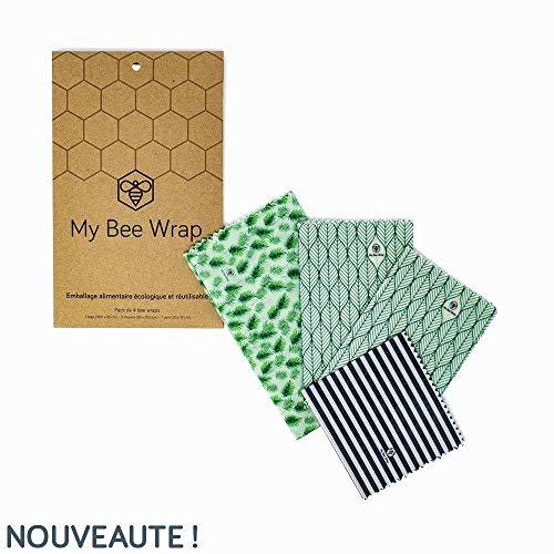 My Bee Wrap Pack Végétal - Emballage Alimentaire Réutilisable de Cire d'abeille - Lot de 4 : 1 Petit, 2 Moyens et 1 Grand | Produit Naturel et sans Plastique - Zéro déchet