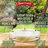 25 Platos de Plástico Duro Desechables, Transparente 26cm - Diseño Elegante con Brillo de Oro - Reutilizable y Reciclable - Durable y Práctico - Perfecto para Catering, Bodas, Fiestas y Eventos.