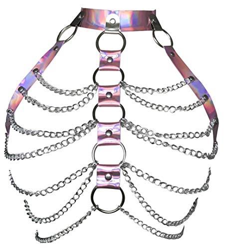 Damen Harness BH Leder Metall Kette Verstellbar Käfig Taille Gürtel Punk Body Brust Harness Gothic Träger Kostüm Clubwear Gr. Einheitsgröße, rose (Hüftgurt Rose)