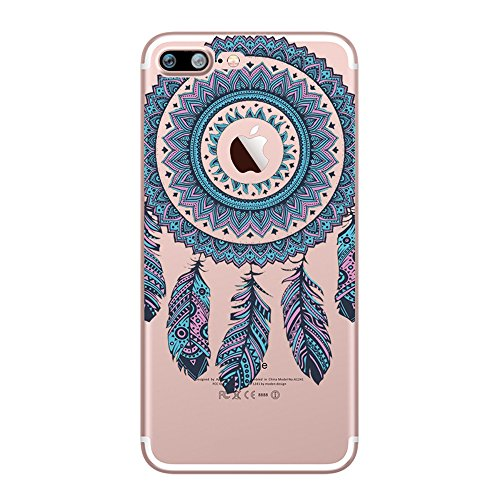 Custodia iPhone 7 Plus, UCMDA Silicone Trasparente Morbida Clear Gel Cover, Ultra Slim Antiurto Anti-Graffio Bumper Case con Disegni - Dreamcatcher Blu - Rosa Dreamcatcher