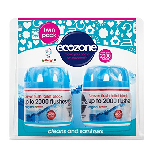 Price comparison product image Ecozone Forever Flush 2000,  Toilet Block,  Twin Pack,  Blue,  Cleans and Sanitises,  Lasts Up To 2000 Flushes,  Vegan