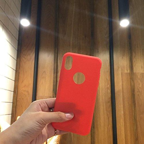 Custodia per Apple iPhone X , IJIA Puro Rosso TPU Silicone Morbido Protettivo Coperchio Custodia Bumper Protettiva Case Cover per Apple iPhone X (5.8) Red