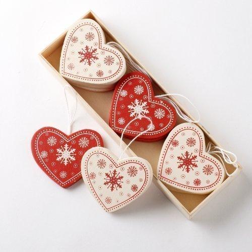 12 er-Box, Vintage-Stil, Rot/Creme-Holz Streuteile Herzen, Baumschmuck -