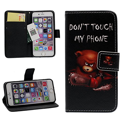 iPhone 6s Plus Portefeuille Bourse Rabat Coque Case de Protection, Original Imprimé Peinture Animal Style ( Ours ) - Don't Touch My Phone - PU Cuir Étui de Protection pour Apple iPhone 6 Plus 5.5 inch noir
