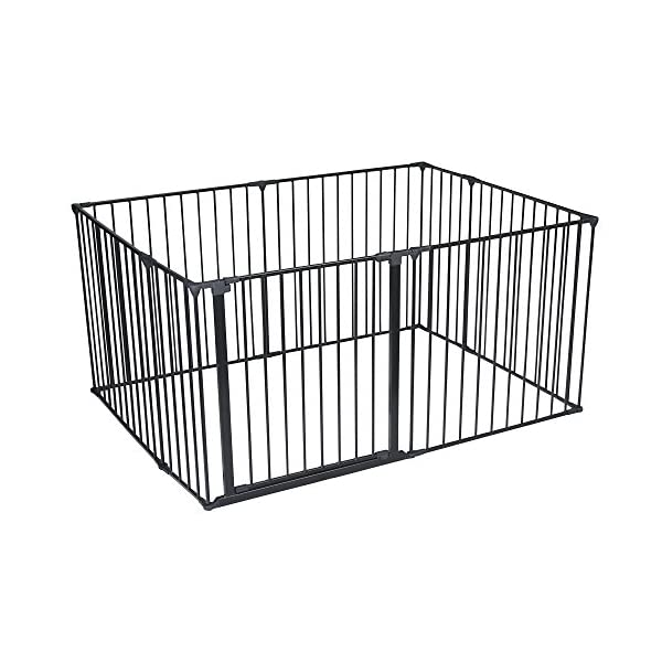 Safetots Play Pen (Black, 105 x 144 cm) Safetots Perfect solution for keeping baby in a safe area whilst they rest and play Includes 1x 72cm Gate Opening Panel, 2x 33cm Panels and 5x 72cm Panels Extra wide door section for easy access 1