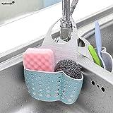 #2: LUKZER Kitchen Bathroom Sponge Soap Water Draining Hanging Holder Organizer for Faucet Sink Caddy Organizer Kitchen Accessories, Random Colour