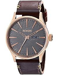 Nixon Herren-Armbanduhr Sentry Analog Quarz Leder A1052001-00