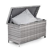 VonHaus Cushion Storage Box PE Rattan | Grey | Weather Resistant | Easy Open | For Patio, Decking, Conservatory or Garden