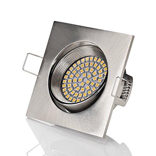 4er sparpack sweet Flaches LED Einbaustrahler ultra Flach | 320 Lumen | 3.5W | 230V | Edelstahl Optik | Rund - Eckig | Schwenkbar Einbauspots Einbauleuchten Einbau led (Eckig chrom gebürstet - Warmweiß)