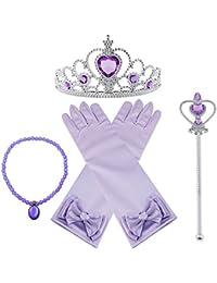 Vicloon Princesa Vestir Accesorios 4 Pcs Regalo Conjunto de Belleza Corona Sceptre Collar Pendientes Guantes para