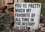 Dozili Holzschild zum Aufhängen, Aufschrift Youre Pretty Much My Favorite mit Metallherz, 15,2 x 33 cm