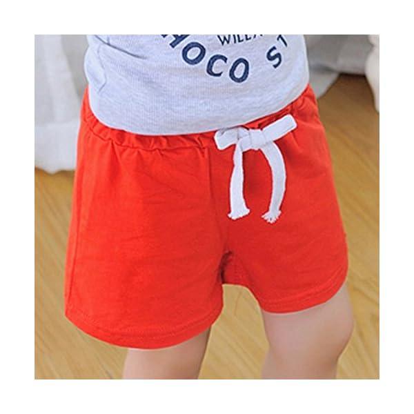 Covermason Bebé Unisex Niños Niña Moda Algodón Ocio Pantalones Cortos (2Años, Rojo) 3