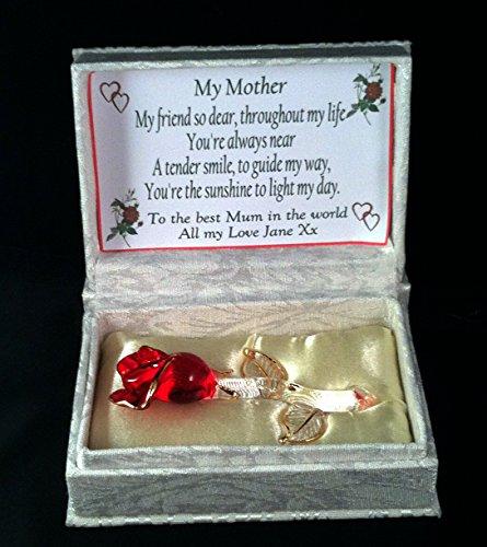 Caja de regalo personalizado para la madre, cristal rosa en poema con