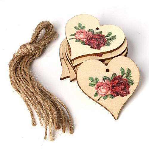Knowled 10 Packs Geschenk Anhänger aus Holz Rose Gedruckt Mit 10 Packungen Saiten Für Hochzeit, DIY, Handwerk, Festival, Dekoration, Verzierungen (10 K Anhänger)