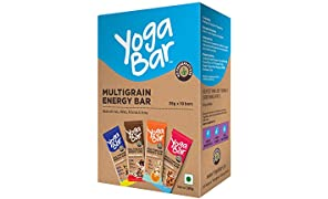 Yogabar Multigrain-Energy Snack Bars Pack - Healthy Diet with Fruits, Nuts, Oats and Millets, Gluten Free and High Protein Crunchy Granola Bars, Packed with Chia and Sunflower Seeds (10 Bars)