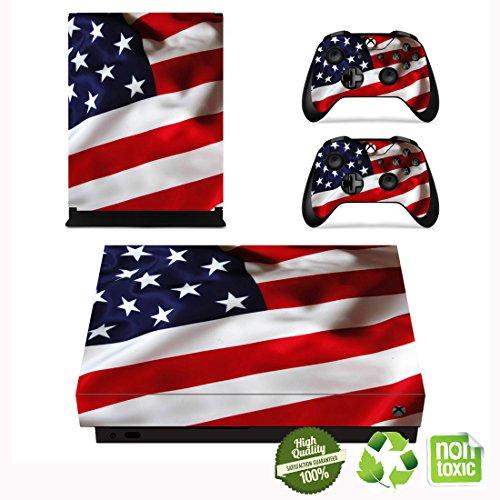 Xbox One X Skin Sticker, Morbuy Designfolie Vinyl-Folie Aufkleber für Konsole + 2 Controller Aufkleber Schutzfolie Set (Klassische amerikanische Flagge)