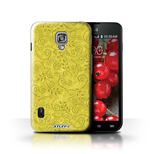 Kobalt® Imprimé Etui / Coque pour LG Optimus L7 II Dual / Jaune conception / Série Motif Feuille Remous Jaune