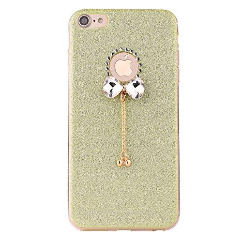Clear Crystal Rubber Protettivo Case Skin per Apple iPhone 7 4.7, CLTPY Moda Brillantini Glitter Sparkle Lustro Progettare Protezione Ultra Sottile Leggero Cover per iPhone 7 + 1x Stilo - Silver Verde