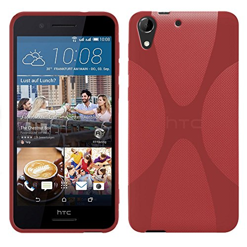 HTC Desire 728G Dual Sim - TPU Schutzhülle X-Style X Design Case Schutz Cover Etui Hülle in Rot - RT-Trading