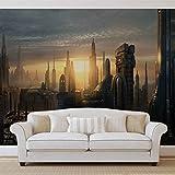 Star Wars Stadt Coruscant - Forwall - Fototapete - Tapete - Fotomural - Mural Wandbild - (1694WM) - XXL - 312cm x 219cm - VLIES (EasyInstall) - 3 Pieces