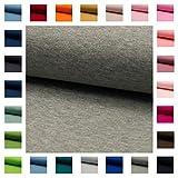 Bündchen Stoff NELE UNI in vielen Farben Oeko-Tex Standard 1 Schlauchware 35cm / 70cm aufgeschnitten Meterware ab 50cm hochwertiger Basic-Stoff zum Nähen (grau meliert)