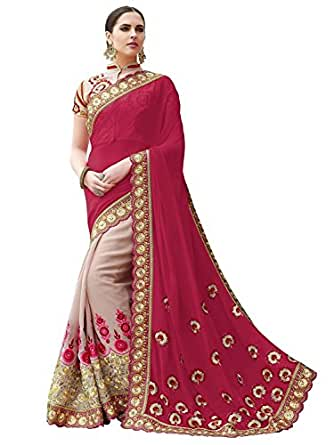 Indian E Fashion Women's Maroon & Beige Georgette Saree With Blouse Piece (MAROON)