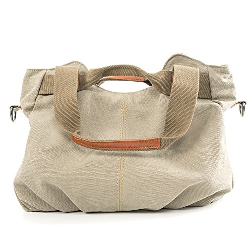 CloSoul Direct Damen Canvas Shopper Handtasche Umhängetasche Mit Reißverschluss khaki Beige