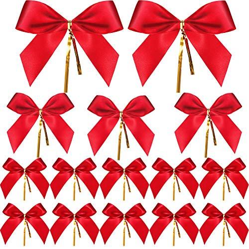 Sumind 20 Stück Weihnachten Bow Roter Band Bogen Geschenk Verpackung Bögen für Weihnachten Dekoration in 3 Verschiedenen Größen