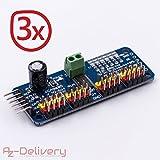 AZDelivery ⭐⭐⭐⭐⭐ 3 x PCA9685 16 Kanal 12 Bit PWM Servotreiber für Arduino und Raspberry Pi