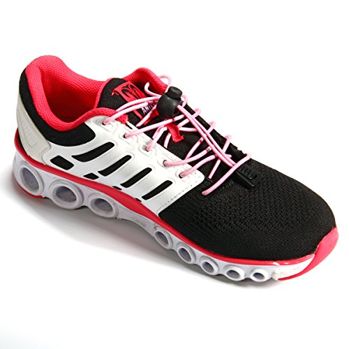 Xcellent Global 2 Paire élastiques Aucune des lacets de fixation Verrou Lacets pour le marathon et triathlon coureurs, chaussures de formateur, les enfants, les personnes âgées Rose