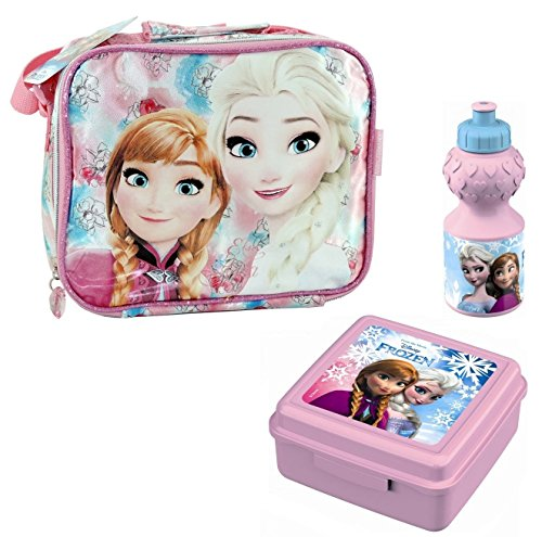 Set completo scuola Porta pranzo Termico + porta merenda e borraccia Frozen Disney Anna Elsa