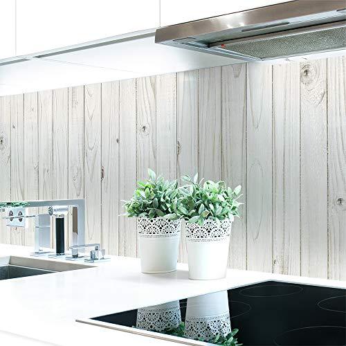 Küchenrückwand Holzwand Weiß Premium Hart-PVC 0,4 mm selbstklebend 400x80cm