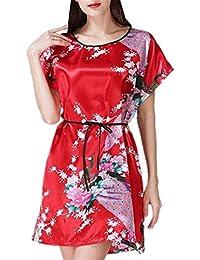 Betrothales Vestido Pijamas Chino Estilo Sueño Camisones Kimono Ropa De Noche Elegante Camiseta Cuello Mujer Cómoda