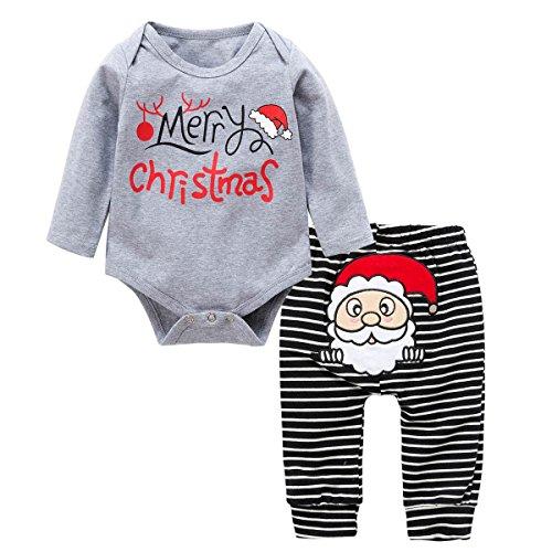 2 Stück Weihnachten Baby Kleider, Wongfon Baby Mädchen Lange Ärmel Strampler und Streifen Hosen Outfits (Kostüme 2 Spandex Stück)